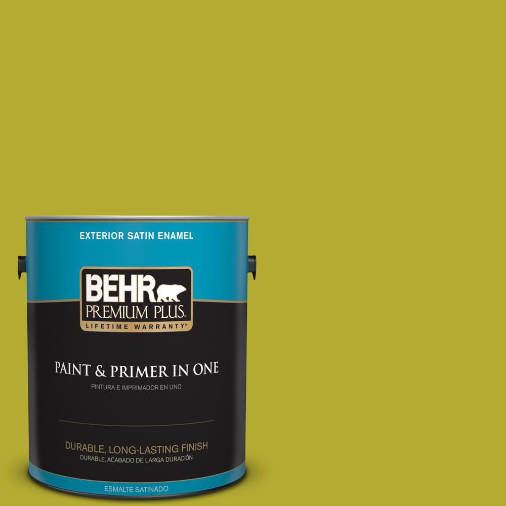 1-gal. #P340-6 Green Neon Satin Enamel Exterior Paint