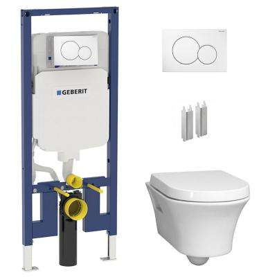 2-Piece .8/1.6 GPF Dual Flush Elongated Cossu Toilet in White w/Concealed Tank (2x4 Construction) and Dual Flush Plate