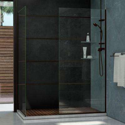 Linea Two 34 in. x 72 in. Semi-Framed Glass Panels in Oil Rubbed Bronze
