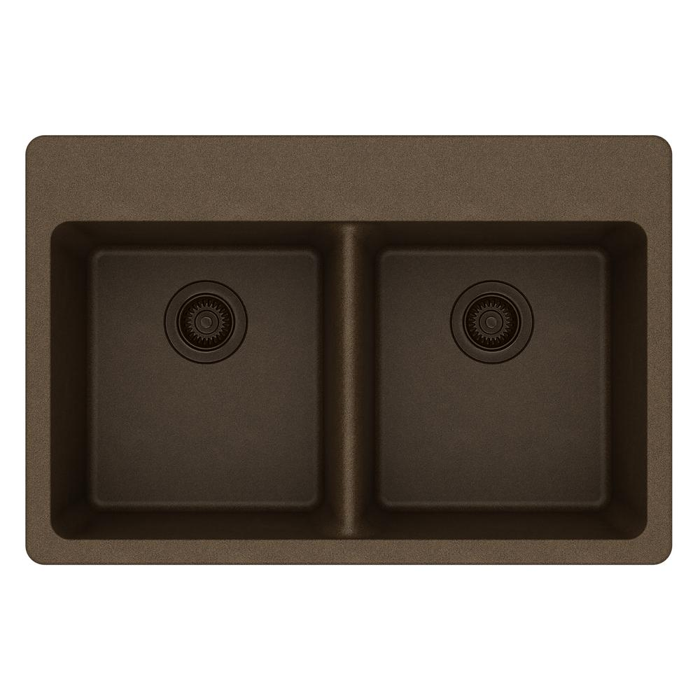 Elkay Quartz Classic Drop-In Composite 33 in. 50/50 Double Bowl Kitchen  Sink in Mocha