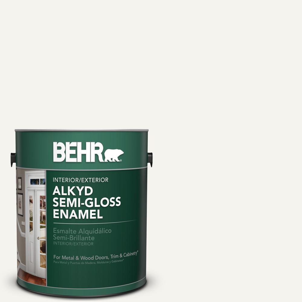 1 gal. #75 Polar Bear Semi-Gloss Enamel Alkyd Interior/Exterior Paint