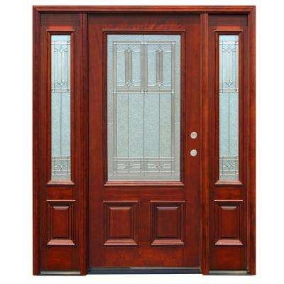 Diablo Traditional 3/4 Lite Stained Mahogany Wood Prehung Front Door with 12 in. Sidelites