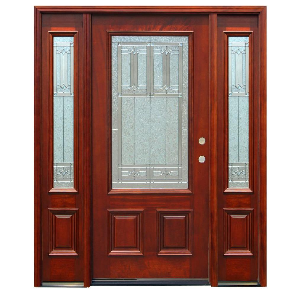 Pacific Entries 68 in. x 80 in. Traditional 3/4 Lite Stained Mahogany Wood Prehung Front Door w/6 in. Wall Series and 12 in. Sidelites