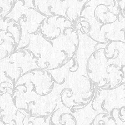 Empress Scroll Silver Removable Wallpaper