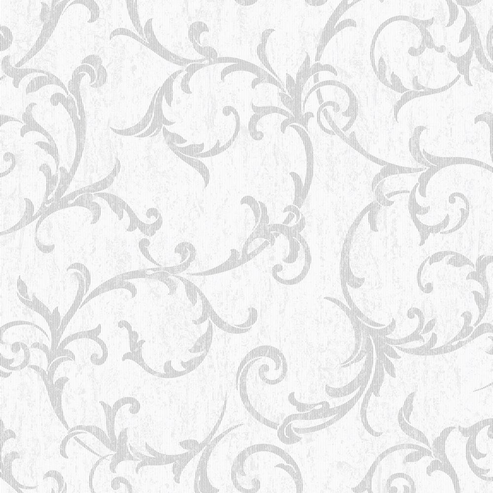 Empress Scroll Silver Removable Wallpaper Sample
