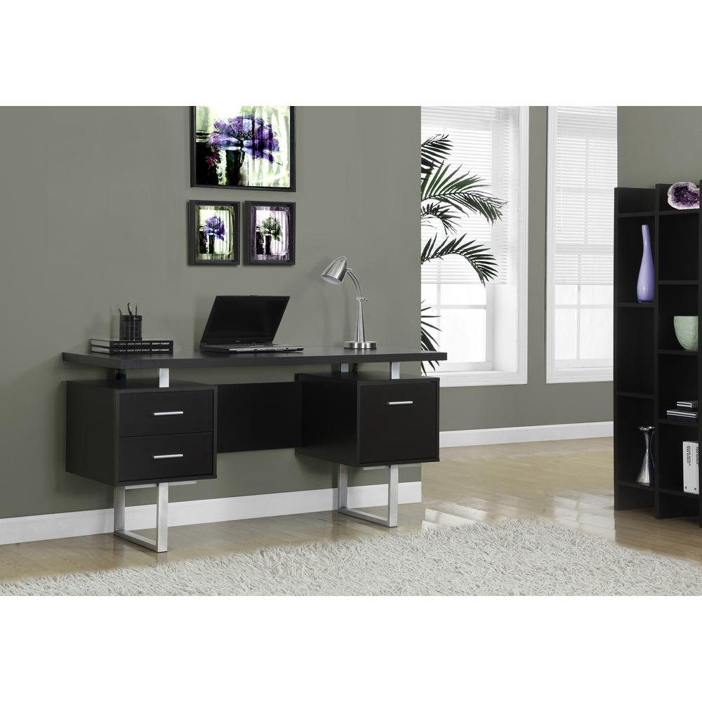 Monarch Specialties Cappuccino Desk With Drawers
