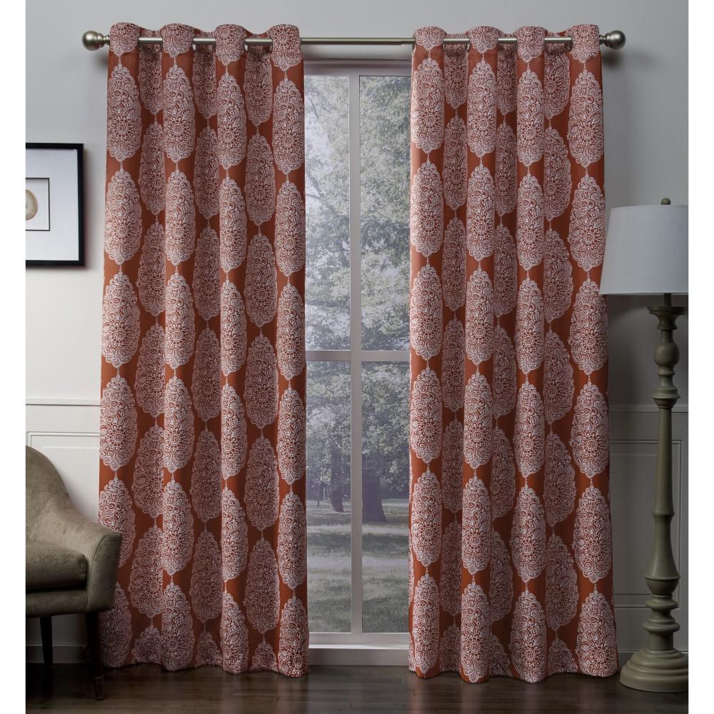 Queensland 52 in. W x 108 in. L Woven Blackout Grommet Top Curtain Panel in Mecca Orange (2 Panels)