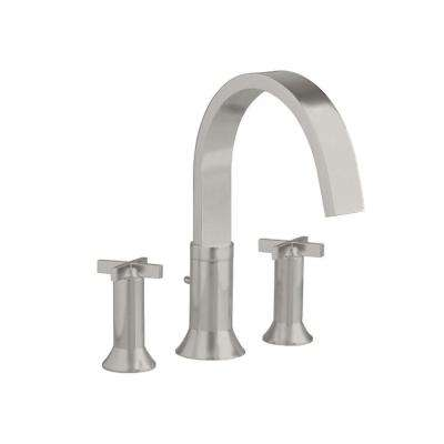 Berwick Cross 2-Handle Deck-Mount Roman Tub Faucet in Brushed Nickel