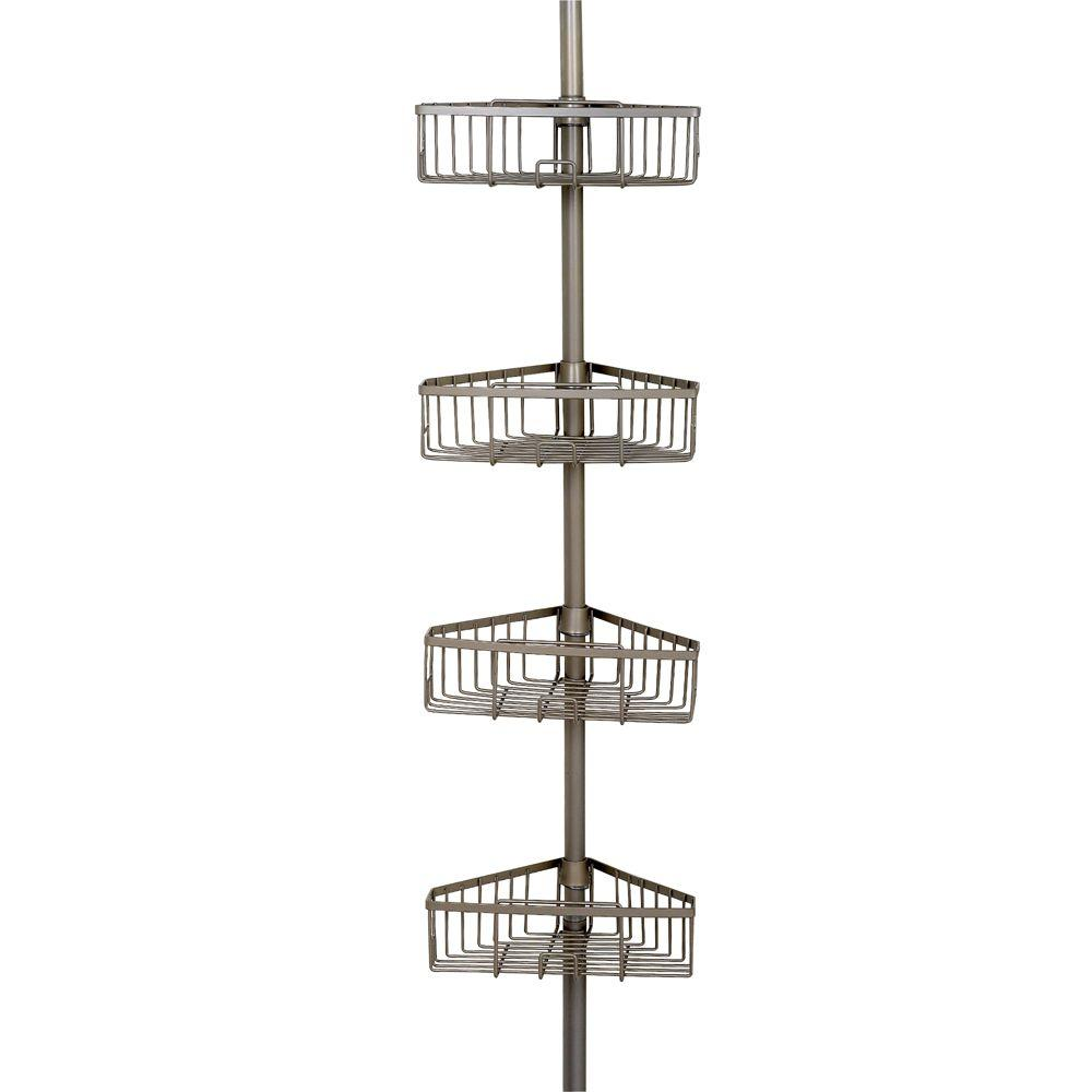 4-Tier Pole Caddy in Satin Nickel