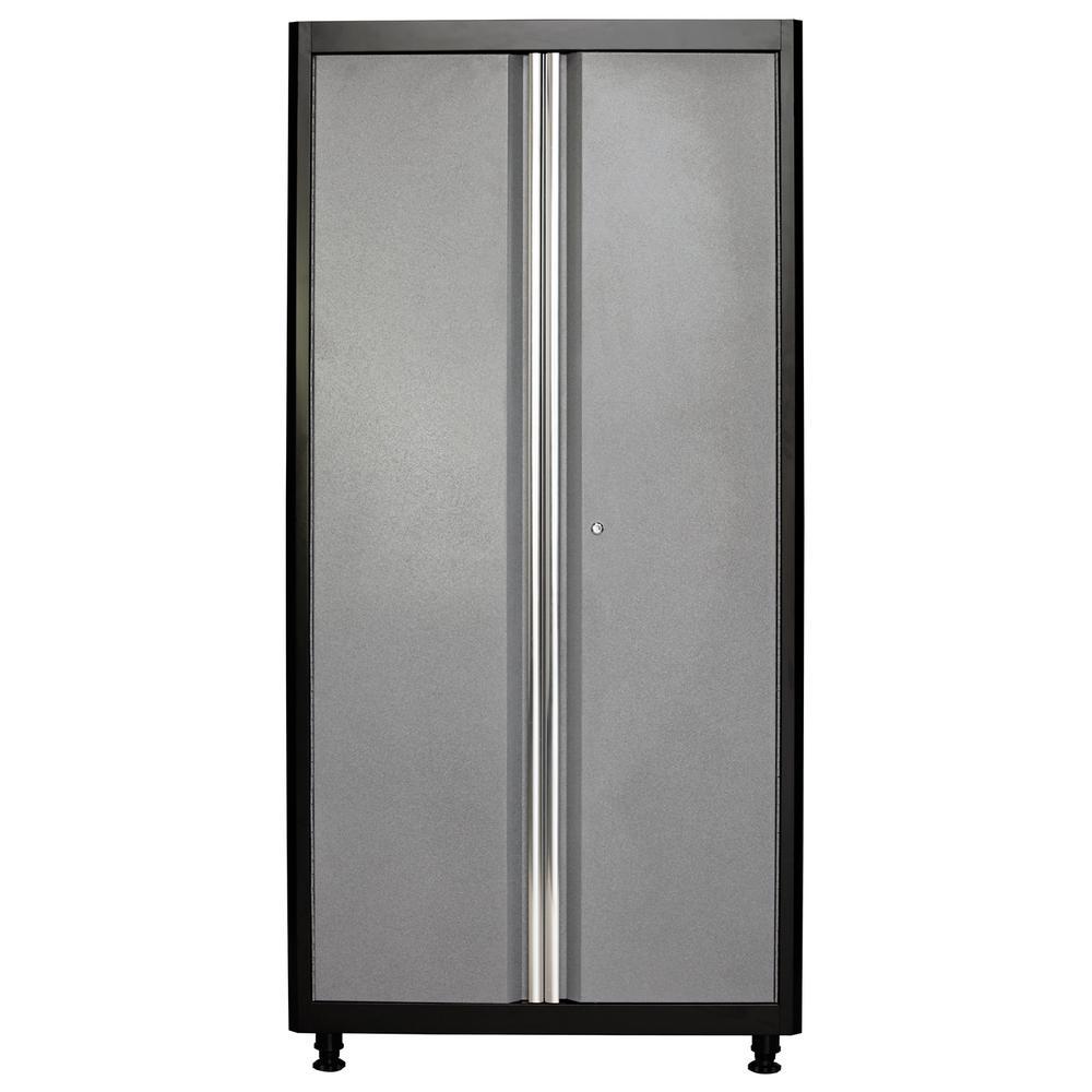 American Heritage 72 in. H x 36 in. W x 18 in. D Welded Steel Floor Freestanding Cabinet in Black/Multi-Granite