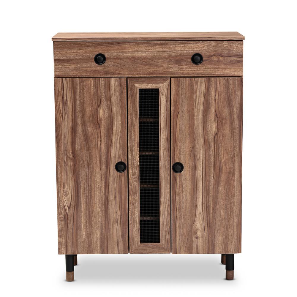 Baxton Studio Valina 47 in. H x 35 in. W 15-Pair Oak Wood Shoe Storage Cabinet