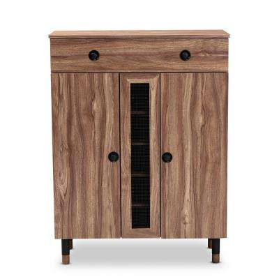 Valina 47 in. H x 35 in. W 15-Pair Oak Wood Shoe Storage Cabinet