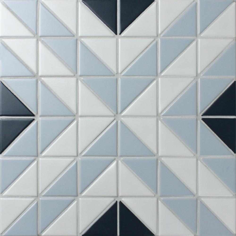 Merola Tile Tre Apex Blue Ice Mix 10-3/4 in. x 10-3/4 in. x 6 mm Porcelain Mosaic Tile (8.21 sq. ft. / case)