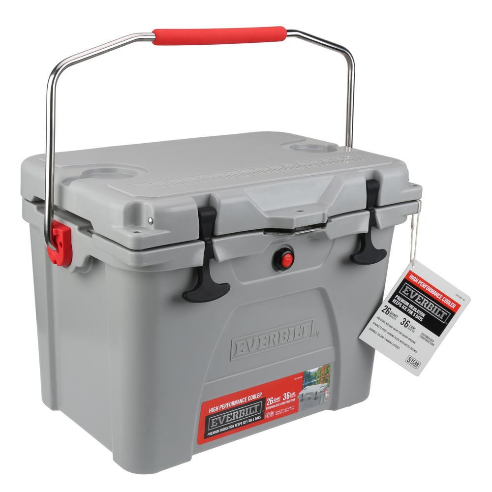 Everbilt Everbilt 26 qt. High-Performance Cooler with Lockable Lid, Gray
