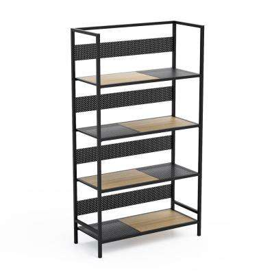 Doheny Black/Maple 4-Tier Folding Shelf