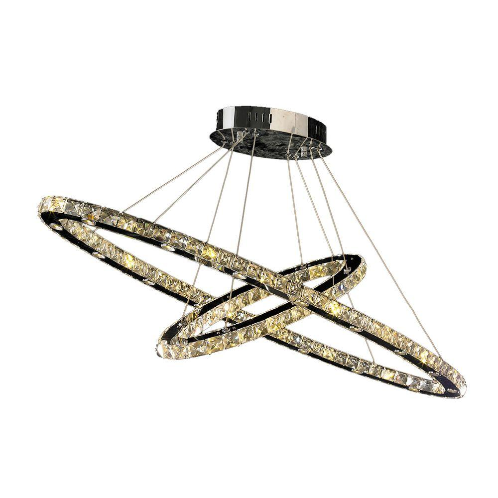 Galaxy 48-Light Polished Chrome Chandelier with Clear Crystal