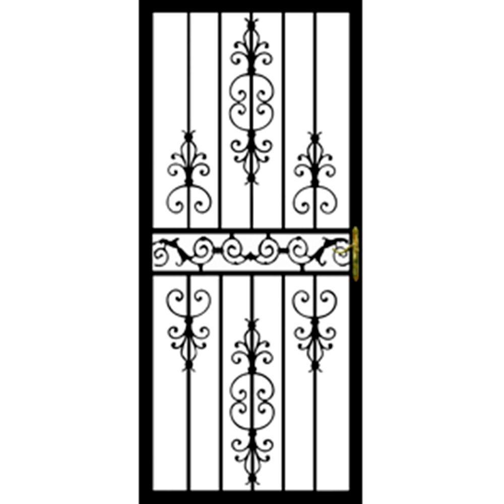 32 in. x 80 in. 109 Series Black Hinge Left Diplomat Security Door with Self-Storing Glass Feature