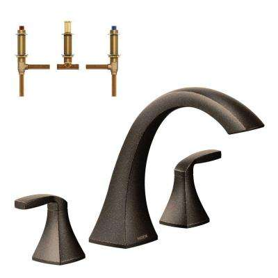 Voss 2-Handle Deck-Mount High Arc Roman Tub Faucet Trim Kit with Valve in Oil Rubbed Bronze