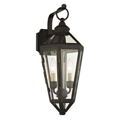 Calabasas 2-Light Vintage Bronze 20.25 in. H Outdoor Wall Mount Sconce with Clear Glass