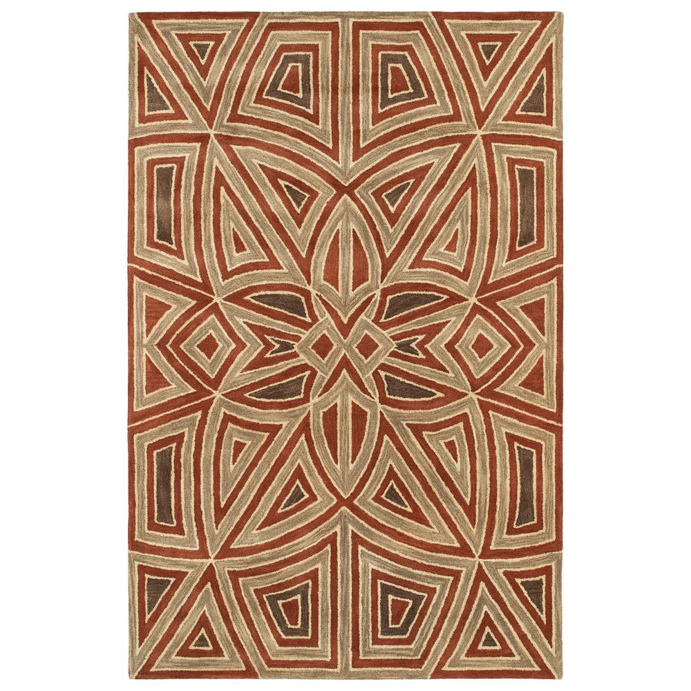 KALEEN RUG CO. Art Tiles Rust (Red) 2 ft. x 3 ft. Area Rug