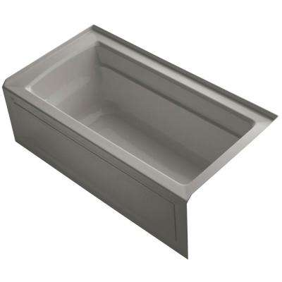 Archer 5 ft. Right Drain Rectangular Alcove Soaking Tub in Cashmere with Bask Heated Surface