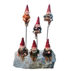 Toad Hollow 6 inch Gnome Shelf Sitters and Garden Stakes (6-Pack) with Removable 8 inch Metal Garden Stakes by Toad Hollow