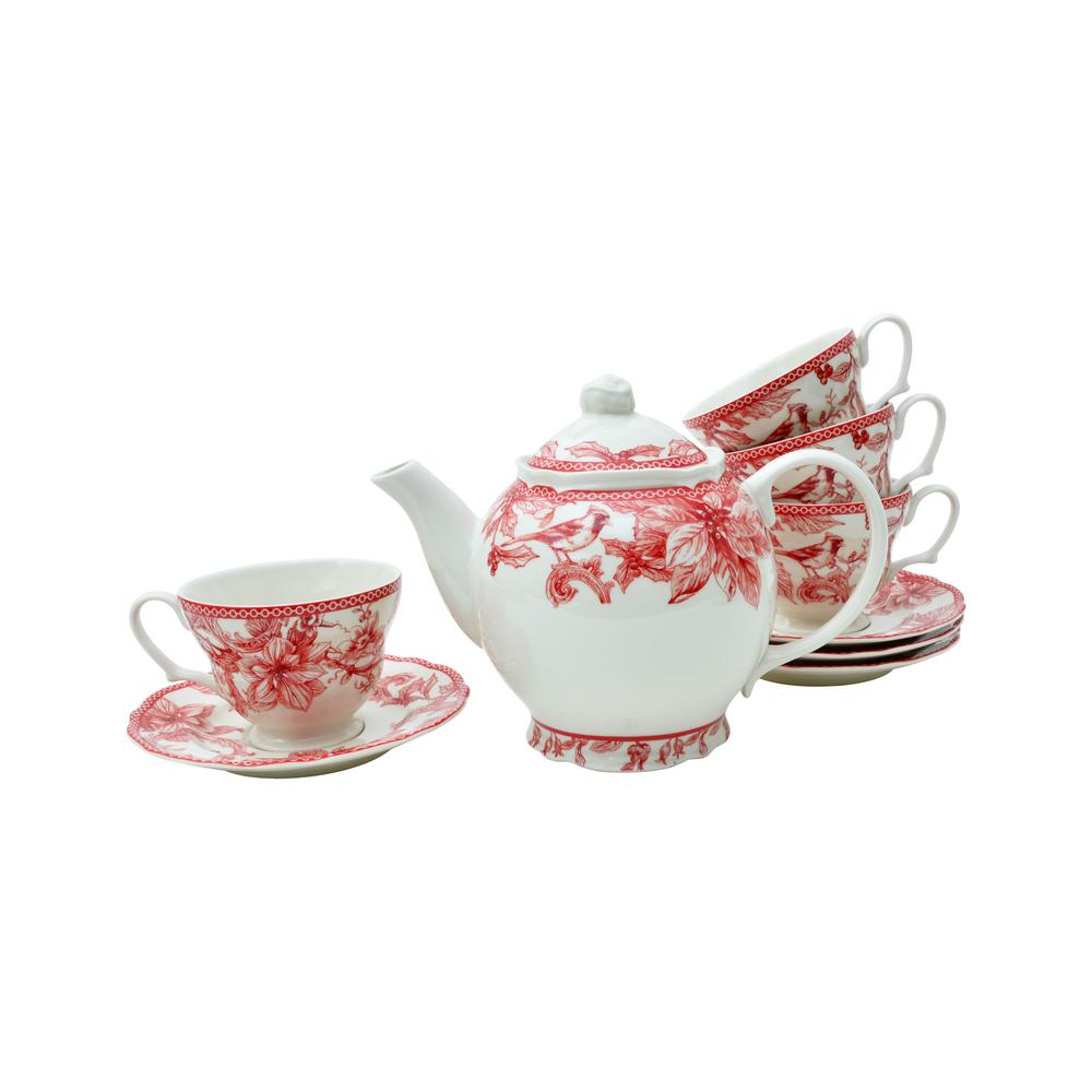 222 Fifth Christmas Lane Teapot with Cups and Saucers (Set of 4)