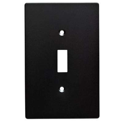 Subway Tile Decorative Single Switch Plate, Flat Black (4-Pack)