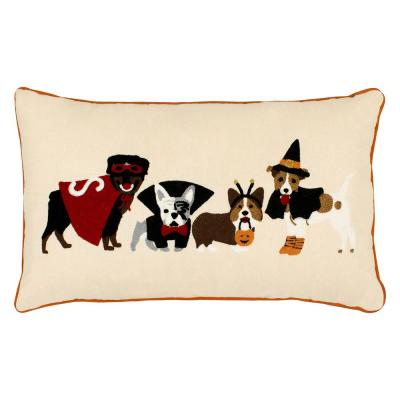 Dog Costumes Embroidered Halloween Polyester Standard Throw Pillow