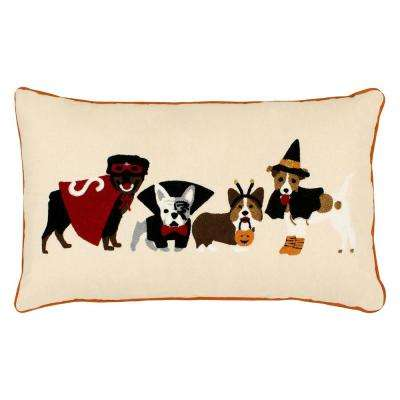 Dog Costumes Embroidered Halloween 14 in. x 24 in. Pillow