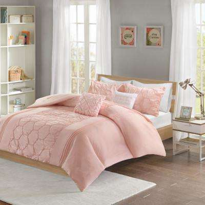 Shayda 5-Piece Blush Full/Queen Solid Comforter Set
