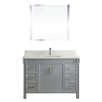 Serrano 48 in. W x 22 in. D Vanity in Oxford Gray with Thin Engineered Vanity Top in White with White Basin and Mirror