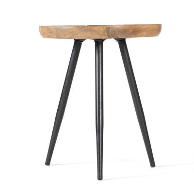 Chevery Small Black and Natural Wood Color Tri Pin Side Mango Wood Side Table