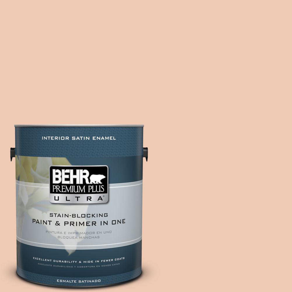 BEHR Premium Plus Ultra 1-gal. #240E-2 Peach Bud Satin Enamel Interior Paint