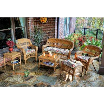 Portside Amber 6-Piece Wicker Patio Seating Set with Zoe Citrus Cushions