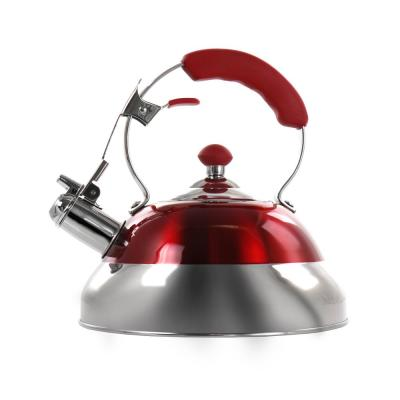 12-Cup Red Stainless Steel Whistling Kettle