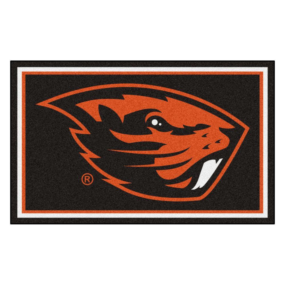 Ncaa - Oregon State University Black 4 ft. x 6 ft. Area Rug