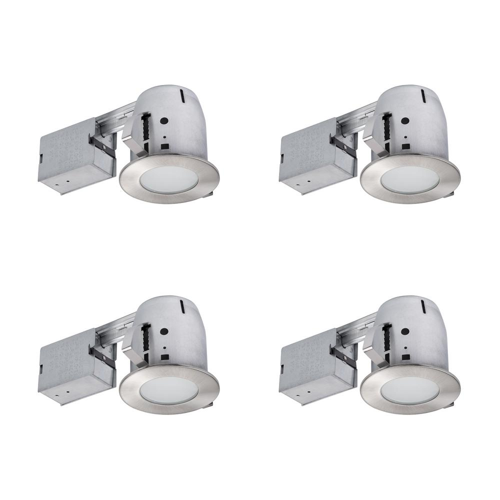 Globe Electric 4 In Brushed Nickel Ic Rated Bathroom Recessed Lighting Kit Led Bulbs Included Pack