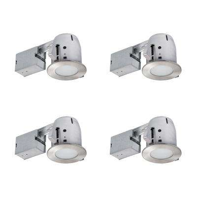 4 in. Brushed Nickel IC Rated Bathroom Recessed Lighting Kit, LED Bulbs Included (4-Pack)