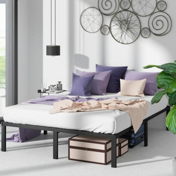 Yelena 14 in. Classic Metal Platform Bed Frame with Steel Slat Support, Queen