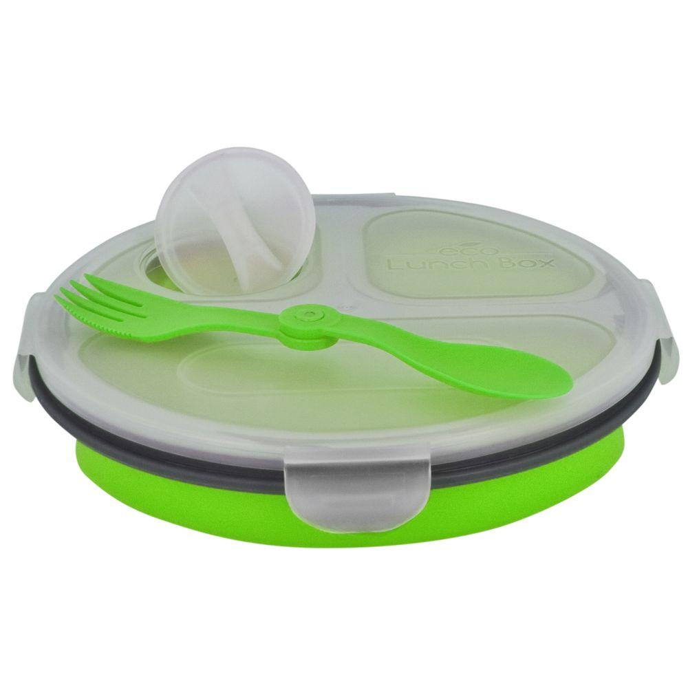 SmartPlanet 34 oz. Collapsible 3 Compartment Oval ECO Lunch Box Green