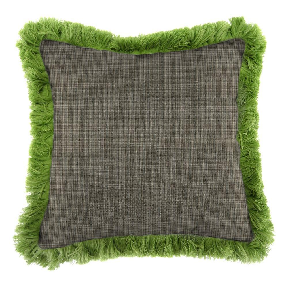 Jordan Manufacturing Sunbrella Surge Charcoal Square Outdoor Throw Pillow with Gingko Fringe
