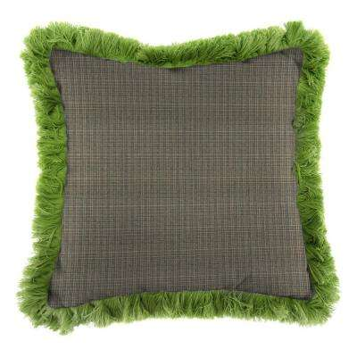 Sunbrella Surge Charcoal Square Outdoor Throw Pillow with Gingko Fringe