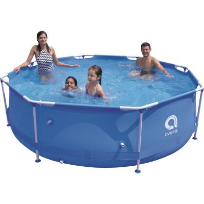 10 ft. Round 30 in. Deep Hard Side Metal Wall Above Ground Swimming Pool Inflatable Pool