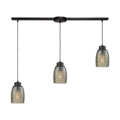 Muncie 3-Light Linear Bar in Oil Rubbed Bronze with Champagne Plated Spun Glass Pendant
