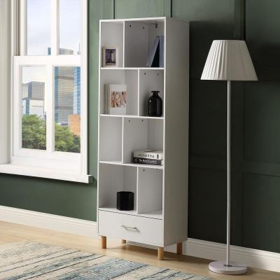 65 in. White Wood 8-shelf Accent Bookcase with Drawers