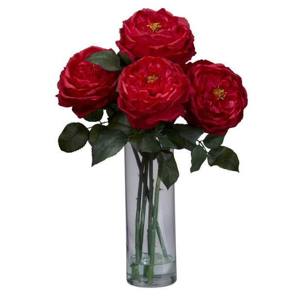 Nearly Natural 18 in. H Red Fancy Rose with Cylinder Vase