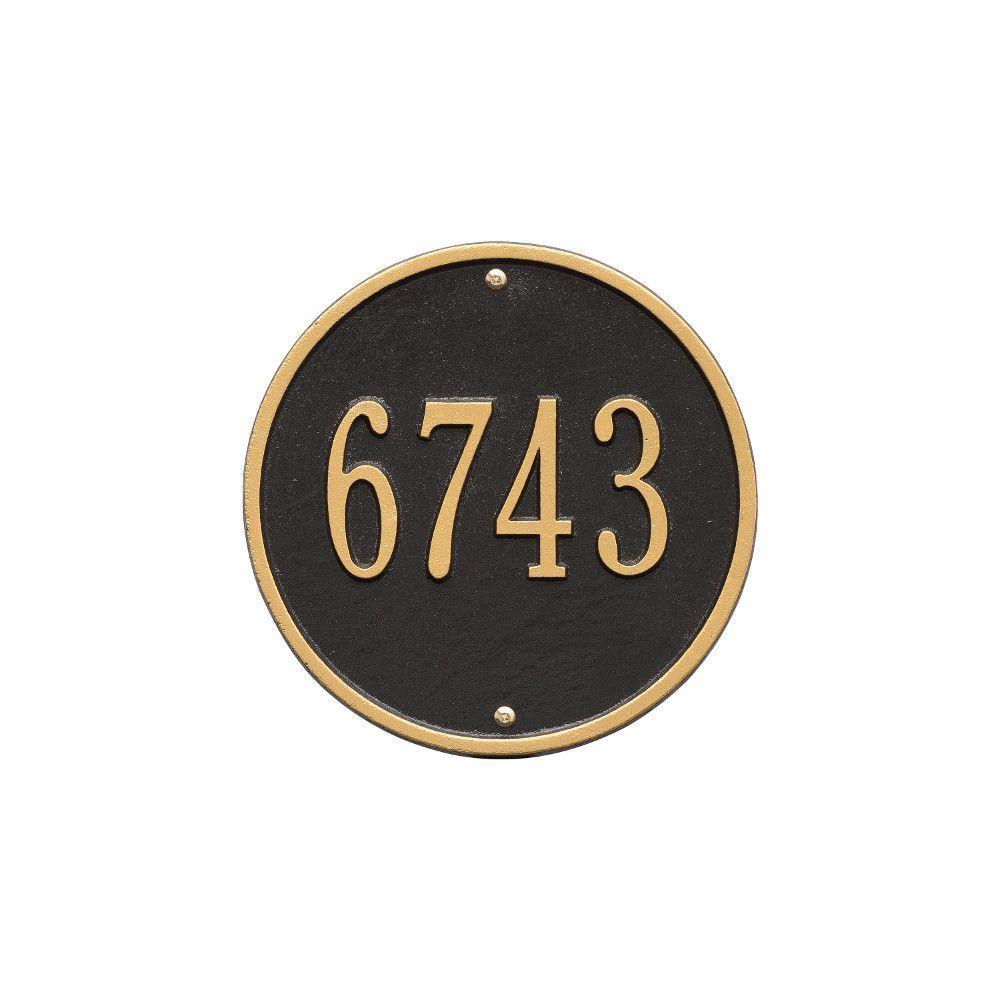 Round Standard Black/Gold Wall 1-Line Address Plaque