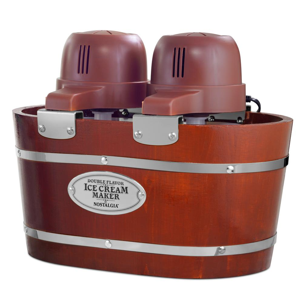 Nostalgia 4 Qt. in Brown Electric Double Flavor Ice Cream Maker The Nostalgia ICMW200DBL 4 qt. Electric Double Flavor Ice Cream Maker brings the old fashioned ice cream shoppe into the home. This real-wood constructed unit includes 2 Qt. aluminum canisters, allowing you to make two flavors of ice cream, gelato or frozen yogurt at the same time. Simply surround the aluminum canisters with ice and rock salt and allow the electric motor to do all the churning. When compared to standard 4 Qt. ice cream makers, this unit makes ice cream 30% faster. Color: Brown.