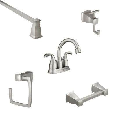 Idora 4 in. Centerset 2-Handle Bath Faucet with 4-Piece Hardware Set in Spot Resist Brushed Nickel (18 in. Towel Bar)